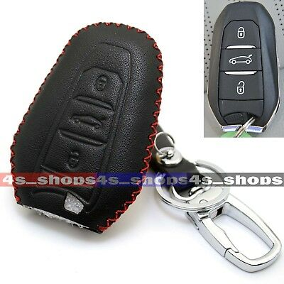 PU Leather Remote Smart Key Case Cover Holder For Peugeot 208 308 508 3008 5008