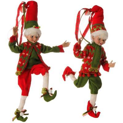 "Raz Holiday Christmas Elf 16"" Posable Elf Elves Decor Raz (Set Of 2) 3702603"