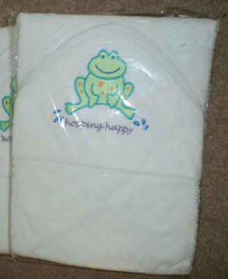 Baby Towels Frog Design Lollipop Lane White Hooded New Now £3.99
