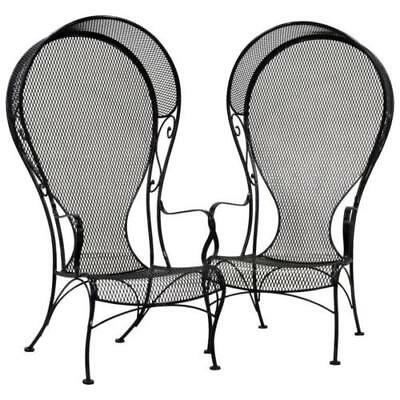 Woodard Sculptured Hooded Porter Chairs, 2 Side Tables, Wrought Iron, MCM, EUC