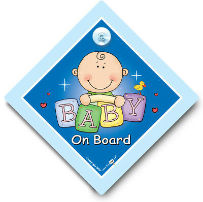 Baby on Board Sign, BLUE BRICKS, Baby Boy Car Sign, Suction Cup Car Sign