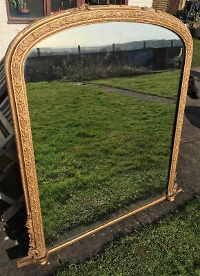 Very Large Antique Gilt Mantle Mirror- Baroque Moulding- Solid Imposing Piece!