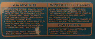 Honda Ns400R Windshield Screen Cleaning Caution Warning Decal