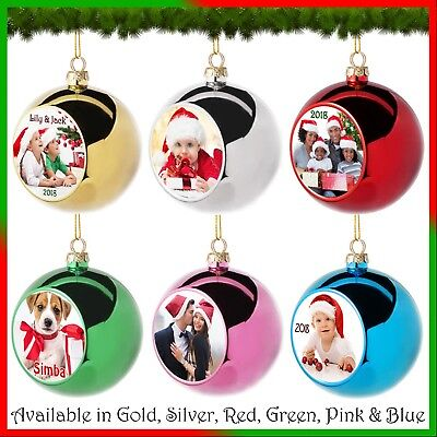 Personalised Photo Bauble - Christmas Tree Ball Ornament - 8cm, 6 Colours - Gift