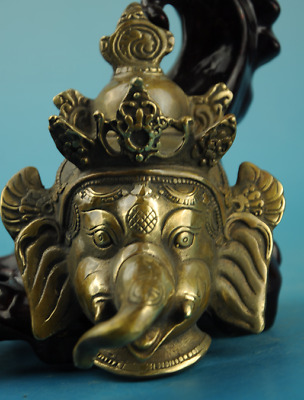chinese old fengshui copper Hand carving elephant statue
