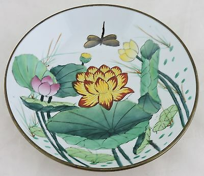 Vintage Asian Chinese Decorative Porcelain/brass Plate Lotus Flower Hand Painted