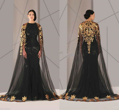 BLACK ARABIC MUSLIM Evening Dresses with Cloak Plus Size ...