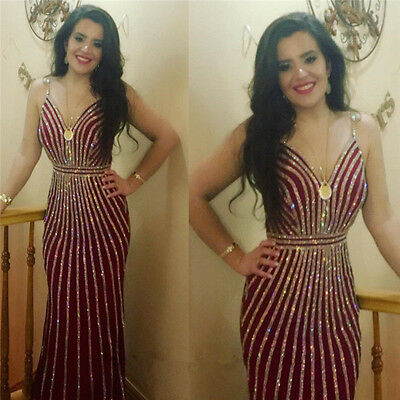 Bling Shining Burgundy Mermaid Evening Dress Prom Party Cocktail Formal Gown