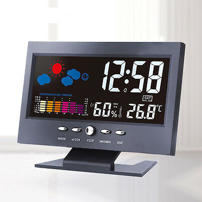 Sound Sensor Light Up LCD Digital Table Clock + Calendar Temperature Alarm Black