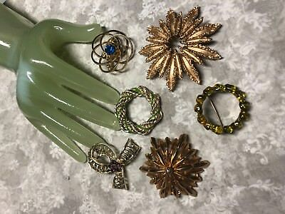 Vintage Lot of SIX 6 Goldtone Round Shape Style Pins some signed        A