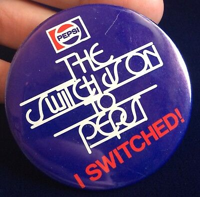 Rare Vintage Pepsi Pinback Button The Switch Is On To Pepsi I Switched!