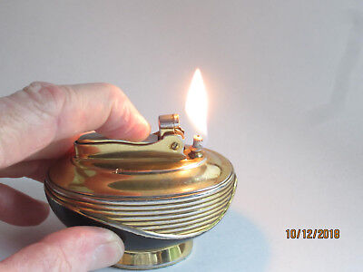 Vintage Ronson Gold and Black Lotus Table Lighter
