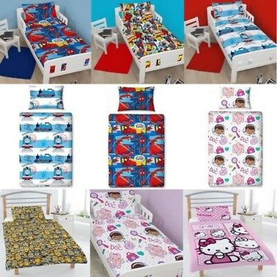 Cartoon Character Baby Junior Toddler Cot Bed Duvet Set Quilt Cover Bedding New