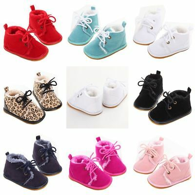 Newborn Baby Girls Boys Soft Sole Shoes Booties Suede Leather Warm Lace-Up Boots