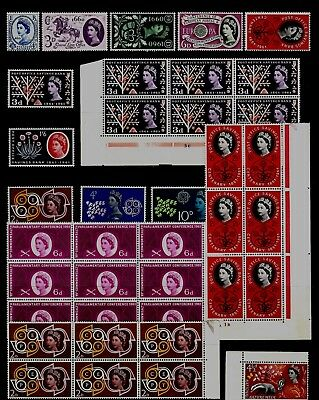 GB 1957-63 COMMEMORATIVE STAMPS Collection INC 2 CYL BLOCKS RE:QM425a