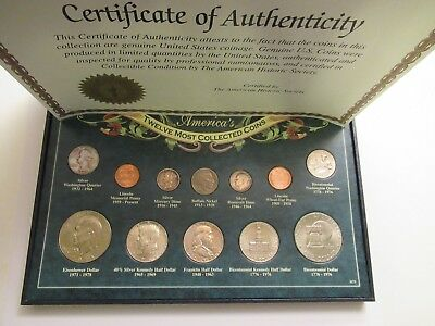 America's Twelve Most Collected Coins,  boxed, carded w/ coa