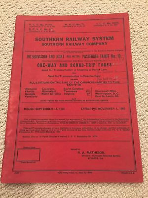 Southern Railway System One-Way and Round-Trip Fares 1965 Passenger Tariff