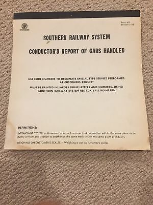 Southern Railway System Conductor's Report of Cars Handled NOS pad Form 612