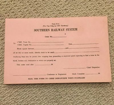 Southern Railway System Form 21-A unused NOS pad