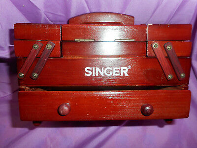 Vintage Cherry Wood Singer Mini Sewing Caddy Accordian Fold Out With Draw & Hand