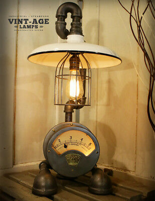 Industrial Steampunk Wappler Electric Meter / Gauge Lamp