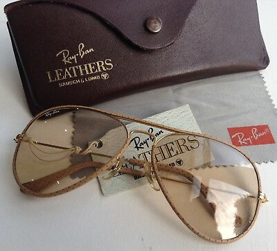 New With Tag Ray Ban B&L Aviator Leathers Sunglasses