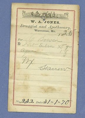 1870 WA Jones Druggist Apothecary Warrenton Missouri Prescription Receipt No 232