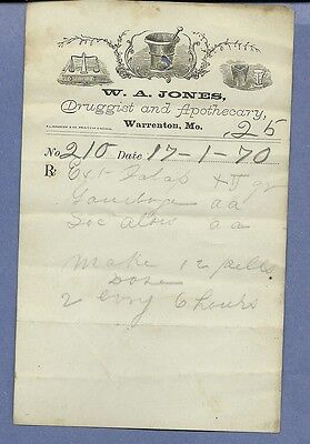 1870 WA Jones Druggist Apothecary Warrenton Missouri Prescription Receipt No 210