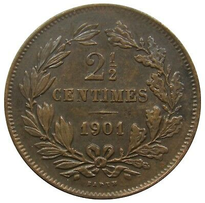 (J22) - Luxemburg Luxembourg - 2 1/2 Centimes 1901 - BAPTH - VF - KM# 21