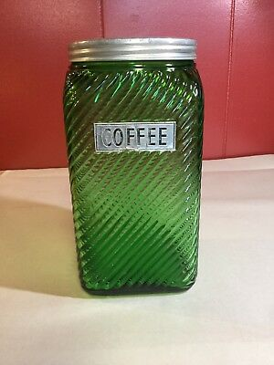 VTG Hoosier Cabinet Coffee Canister Jar Owens Green Ribbed Glass