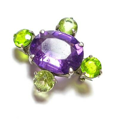 Beautiful Small Victorian Or Edwardian Silver Suffragette Colours Brooch (B10)