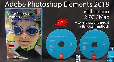 Adobe Photoshop Elements 2019 Vollversion Box + DVD Win/Mac & Anleitung OVP NEU