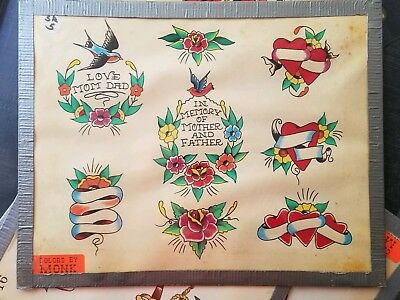 vintage 80s s&r huck rogers produx tattoo flash mom dad heart banner colors:monk