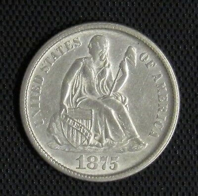 1875 CC Seated Liberty Dime Above Bow UNC