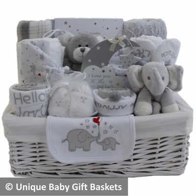 Deluxe large neutral baby gift hamper baby shower gift new baby gift nappy cake