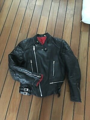 mens vintage 1970's leather Motorcycle jacket 38 Uk