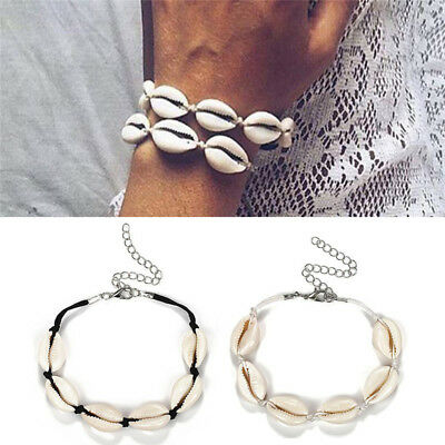 Fashion Women Beach Shell Conch Braid Bracelet Adjust Wristband Anklet Bangle