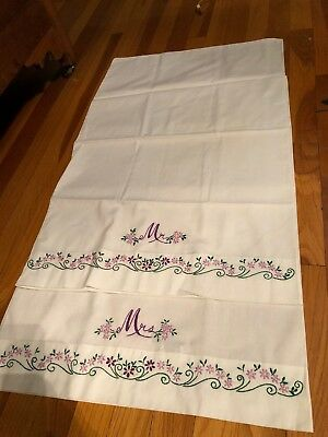 Lovely Vintage Hand Embroidered His and Hers Pillow Cases Standard Size