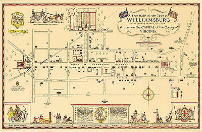 Historic Pictorial Map Williamsburg Incorporated 1722 Wall Art Poster Print