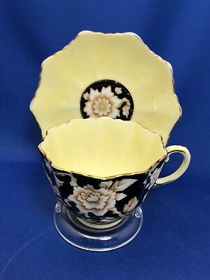Paragon Art Deco Black and Yellow Cup & Saucer Early 1920's Mark