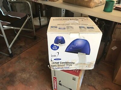 Ion Hard Bonnet Hair Dryer 1875 W Salon Style Bee Hive Dome Roller Blue White