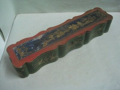 19th century CHINA CHINESE Laquered Box Empty inside hand painted