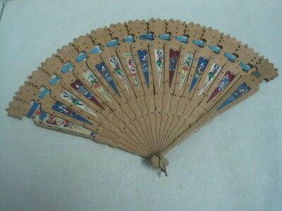 Antique Hand Painted Fan in wood and silk need small repair on tape