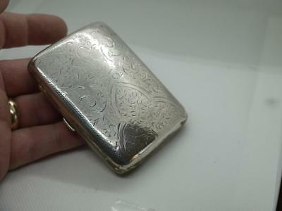 Good Ornate Antique Solid Sterling Silver Hm Sheffiel 1908 Curved Cigarette Case