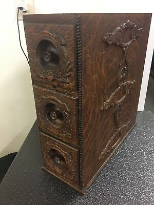 Vtg Antique Treadle Sewing Machine Cabinet Wooden Oak Drawers W/ Frame 3 Drawers
