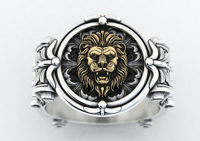 Heavy Ancient Lions Mens Engagement Ring Yellow Gold Finish In 925 Silver
