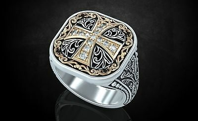 Ancient Stylish Patterns and Cross Mens Engagement Ring in Oxidized 925 Silver