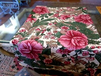 TROPICAL PRINT VINTAGE HEAVY FABRIC COTTON, GREAT FOR UPHOLSTERY OR PILLOWS 50's