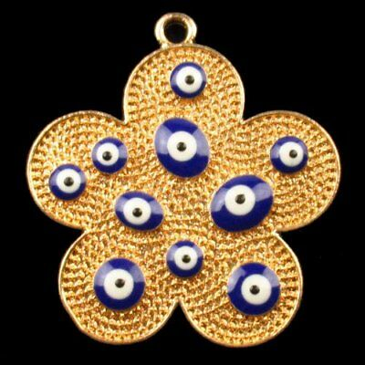 F66941 Carved Brass Bronze Drops Of Oil Flower Pendant Bead 43x46x4mm