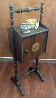 Tobacco Pipe Smoking Stand Humidor Cabinet Table Wood Vintage